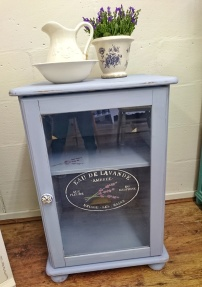 (SOLD) Georgian Sky Stencilled Linen Cupboard, £95
