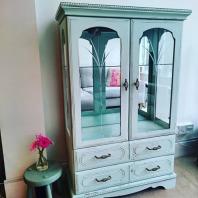 Pale Green Vintage Display Cabinet, £175