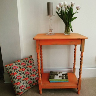 SOLD Orange and Turquoise Barley Twist Table, £55