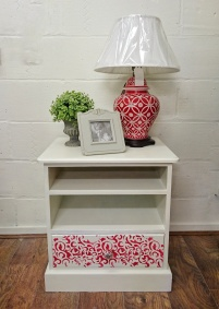 White and Red Stencilled Cabinet £85