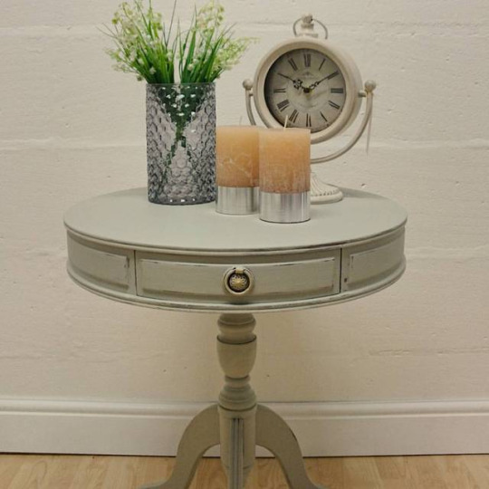 Dove Round Occasional Table with Three Drawers