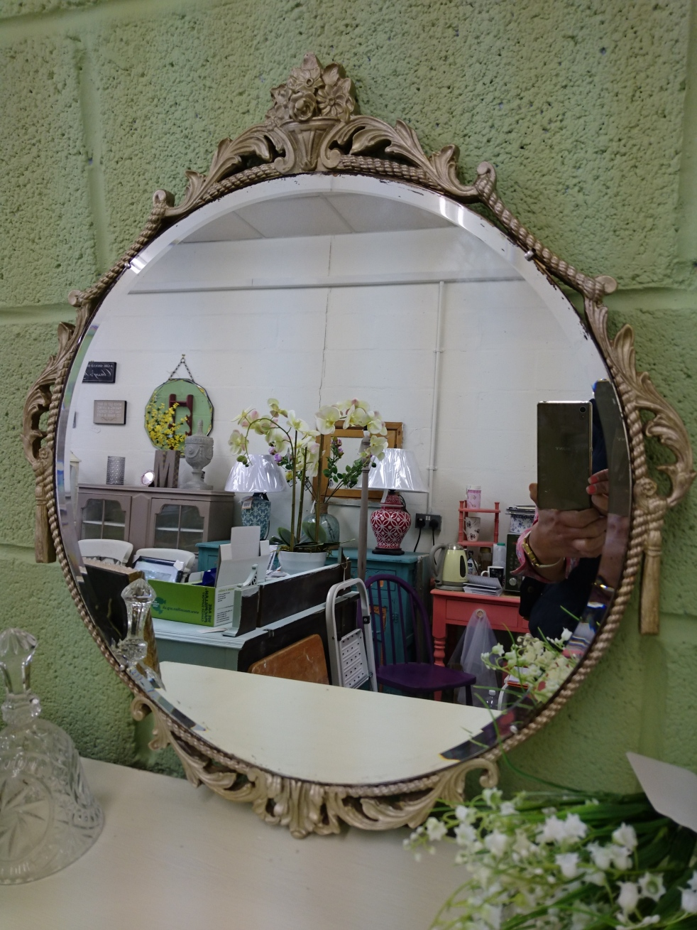 Painted Baroque Mirror at Shelle's Chic