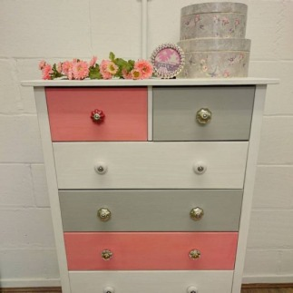 Coral, Grey and White Chest of Drawers, £125