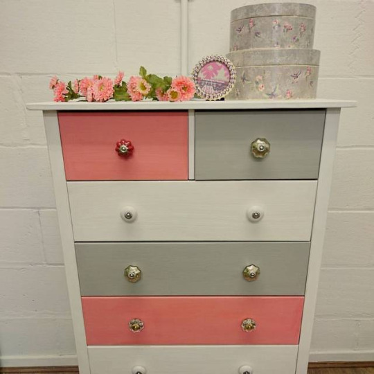Pink Grey and White Drawers at Shelles Chic