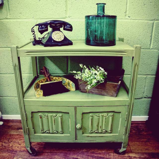 Sage Vintage Tea Trolley Shelle's Chic