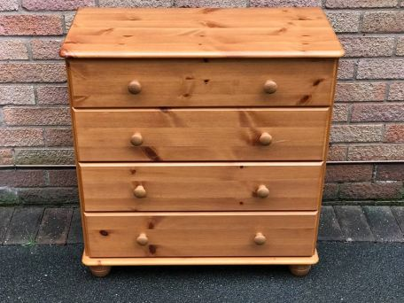 And a chest of orange pine drawers...