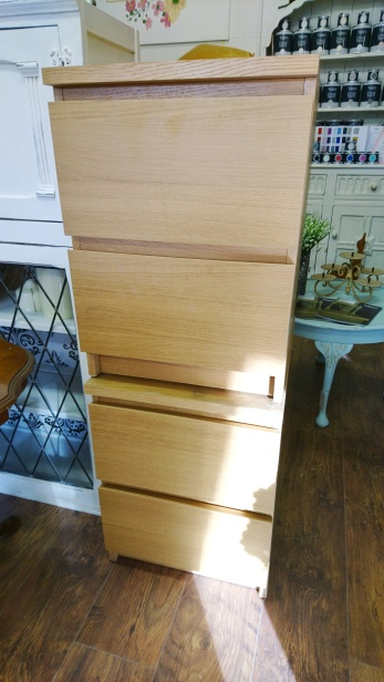 A pair of IKEA bedside tables, BEFORE...
