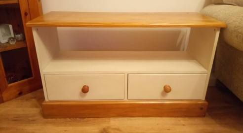 A solid pine TV unit in need of a colour change
