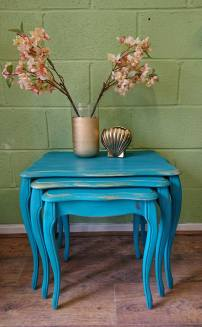 Teal and Gold Nest of Tables £95