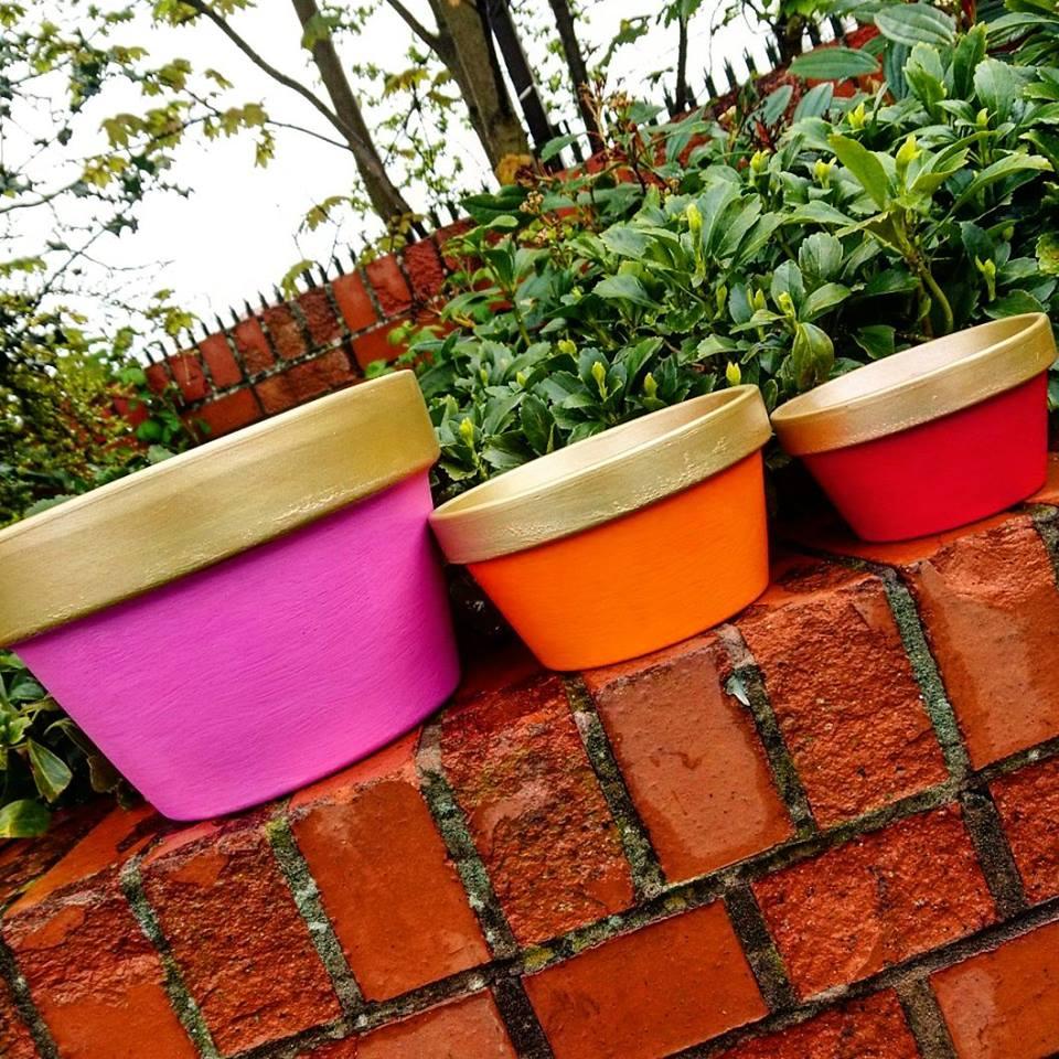 Painted Plant Pots Vintro Chalk Paint Shelle's Chic